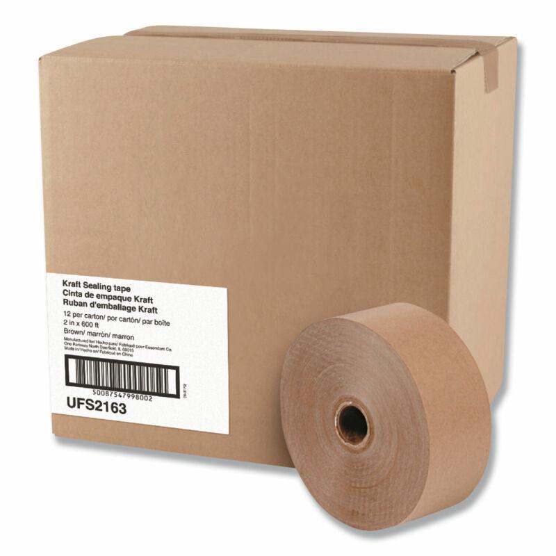 """General Supply Gummed Kraft Sealing Tape, 3"""" Core, 2"""" x 600 ft, Brown, 12/Carton"""