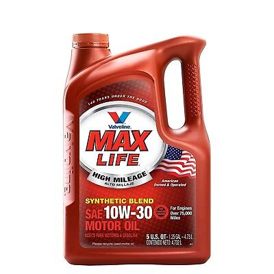 10W30 Synthetic Motor Oil High Mileage 5 Quart Valvoline With Maxlife Technology