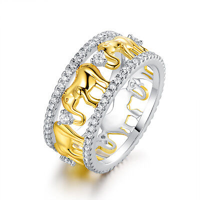 - Rhodium Plated Gold & Silver Cubic Zirconia Elephant Ring