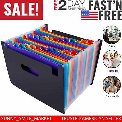 24 Pockets File Organizer Accordion File Folder Multi-color Plastic Stand Bag Us