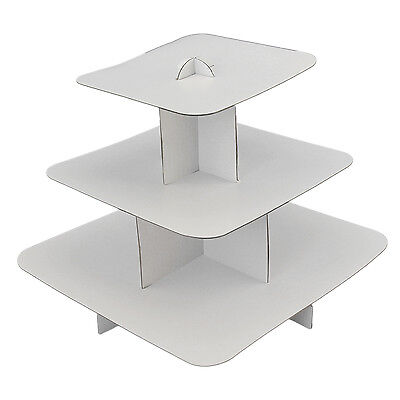 White Round or Square Cardboard Cupcake Display Stand Pastry Dessert (Cardboard Cupcake Stand)