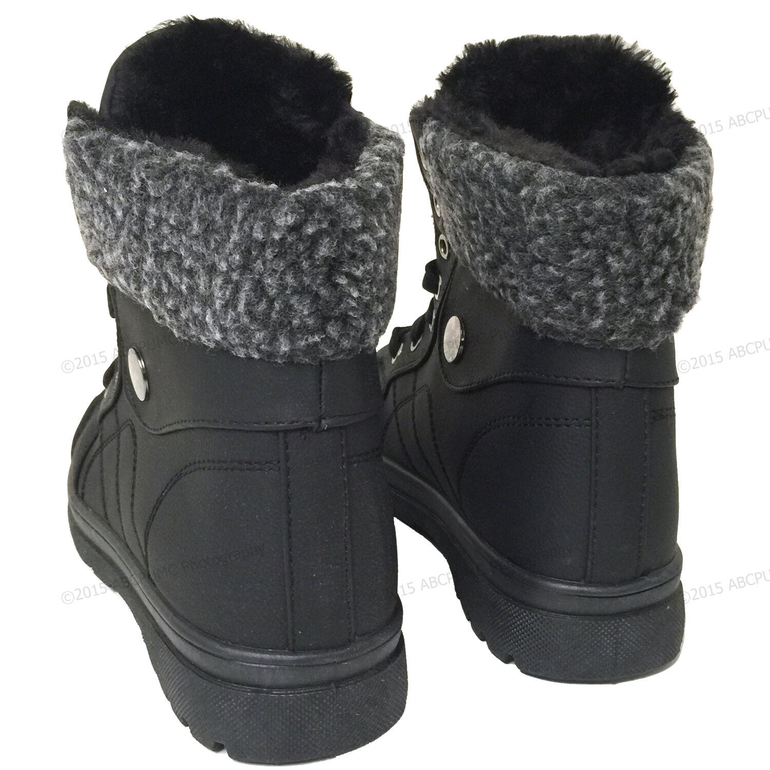 Women's Sneaker Boots Winter High Top Lace up Fur Combat Warm Snow Shoes Sizes