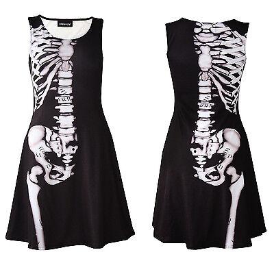 Gothic Anatomy Bones X-Ray Skeleton Ribcage Sleeveless Skater Dress Halloween