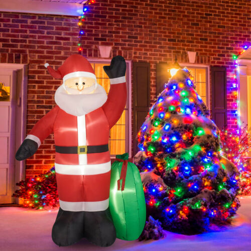 Christmas Santa Claus Gift Bag Inflatable LED Lighted Airblown Yard Decoration
