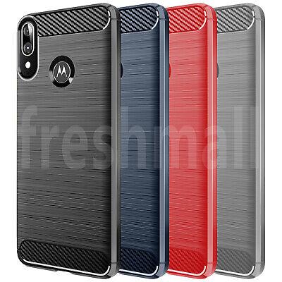 DD For Motorola Moto E6 Plus Case Carbon Fibre Soft Gel TPU Silicone Cover Skin