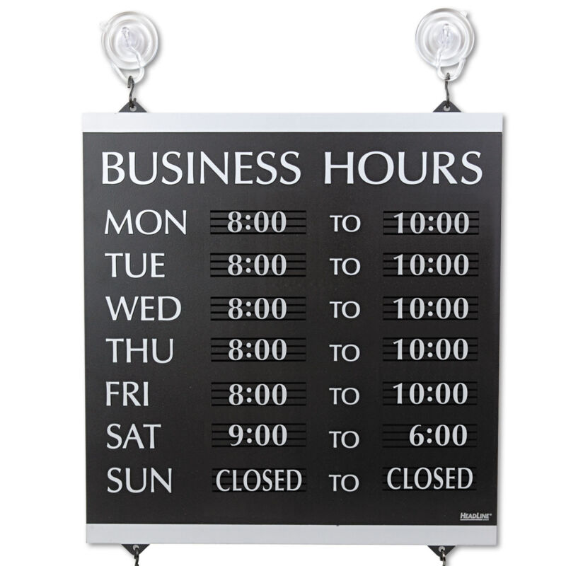 Headline Sign Century Series Business Hours Sign Heavy-Duty Plastic 13 x 14