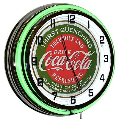 "18"" Drink Coca-Cola Delicious And Refreshing Green Double Neon Clock Home Decor"