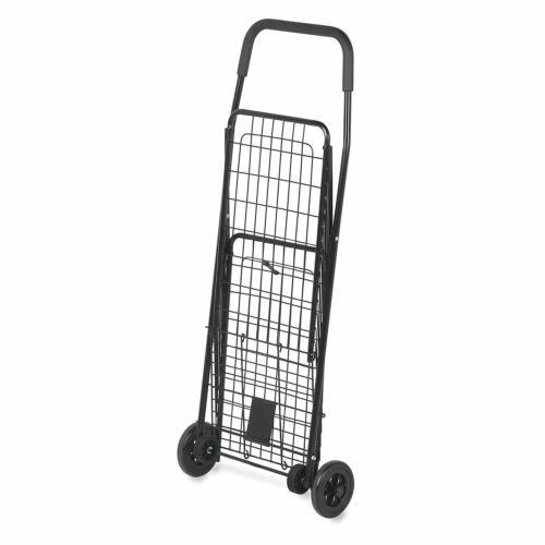 Medium Folding Utiity Cart Laundry Grocery Shopping Basket 4 Wheel Steel Frame