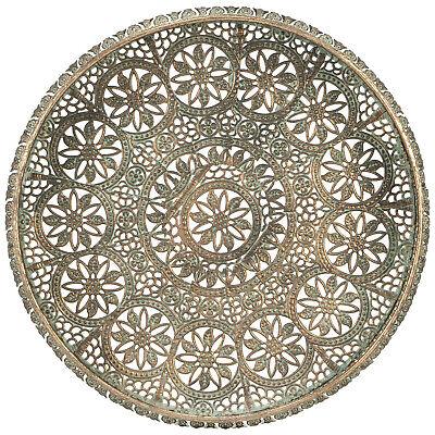 Moroccan Mandala Style Ornate Metal Tray Iron Antique Vintage aged decorative