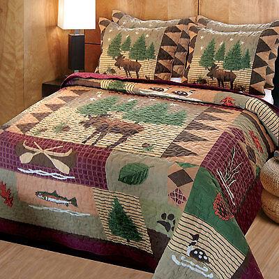 quilted bedspreads king size rustic quilt set moose king size quilt bedding comforter 2 shams bedspread new - Bedspreads King Size