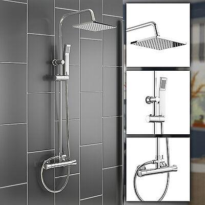 Thermostatic Square Shower Mixer Exposed Valve & Chrome Hand Held Bathroom Set