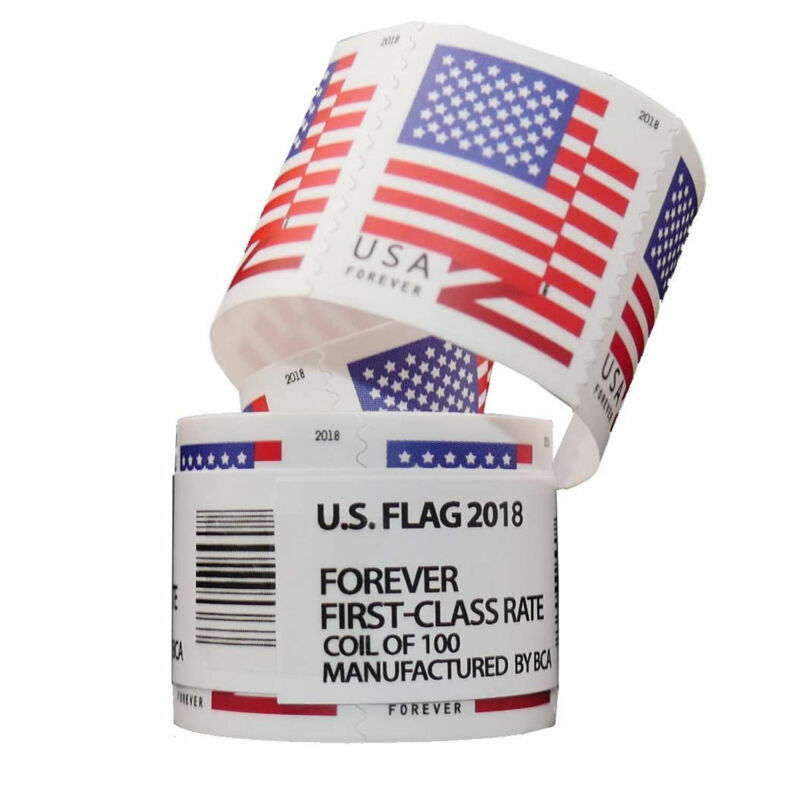 US American Flag Forever Stamps 2018 USPS First Class Postage Roll of 100 Stamps