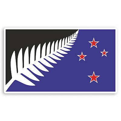 2 x 10cm New Zealand Flag Vinyl Stickers - Silver Fern Luggage Sticker #31080