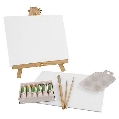 US Art Supply 14 Piece Acrylic Painting Set with Mini Table Easel, 6 Colors