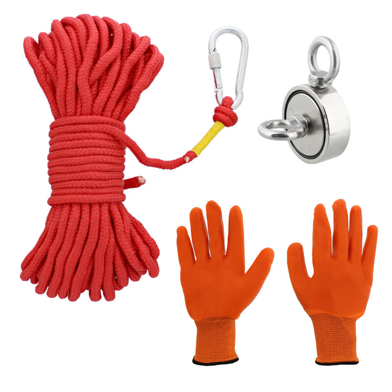 Double Sided Fishing Magnet and Rope Kit - Underwater Magnet, 960 lb. Cap