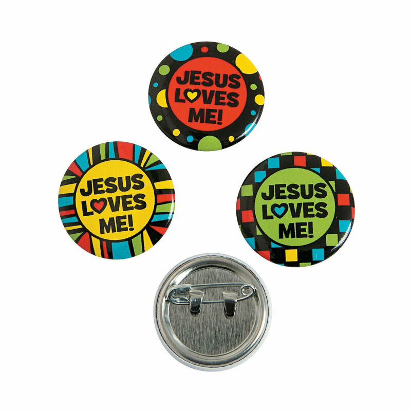 Jesus Loves Me Mini Buttons - Jewelry - 48 Pieces