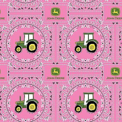 Springs ~ John Deere Tractor Pink Bandana Print ~ 100% Cotton Quilt Fabric -