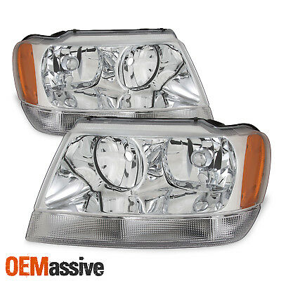 Fits 99-04 Jeep Grand Cherokee Replacement Headlights Headlamps Left + Right - Jeep Grand Cherokee Headlight Replacement