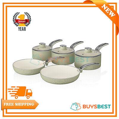 Swan Retro 5 Piece Non Stick Sauce Pan Set Green - SWPS5020GN  ()