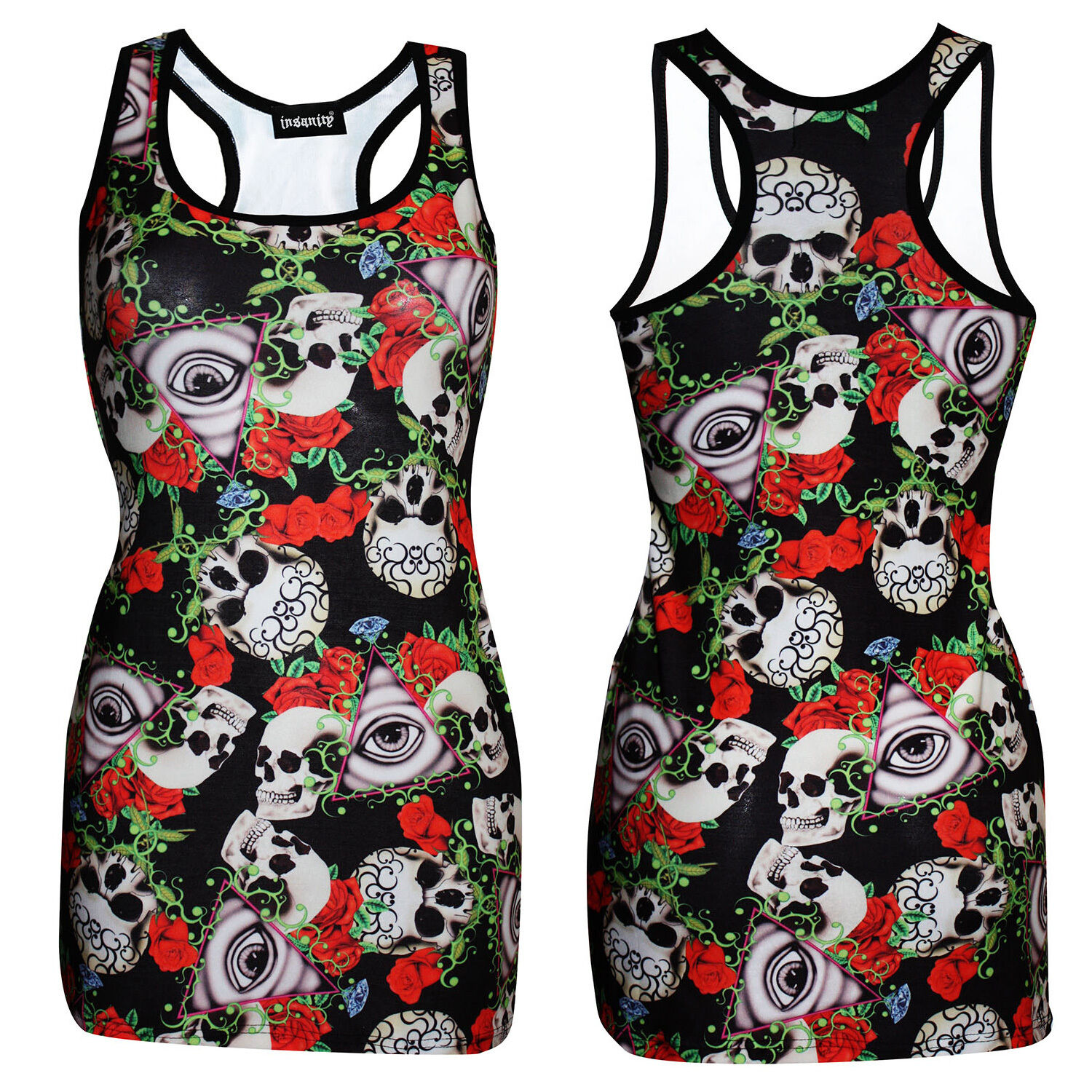 NEW LADI ES SNAKE SKULL ROSE TATTOO PRINT LONG VEST TANK TOP GOTH PUNK EMO