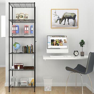 6-Tier Wire Shelving Unit Adjustable Metal Shelf Rack Kitchen Storage Organizer~