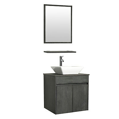 "24"" Bathroom Vanity Wall Mounted W/mirror Ceramic Sink Fauce"
