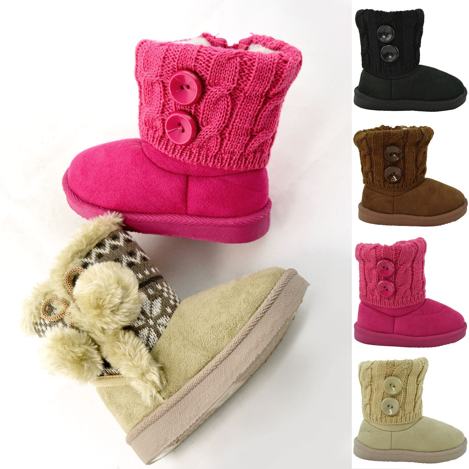 Girls Knitted Ankle Boots Buttons Accent Toddler Kids Bootie