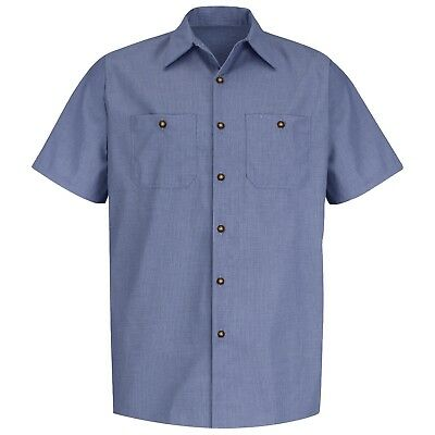 Red Kap Men's Short Sleeve Micro Check Work Shirt, Denim Blue ()