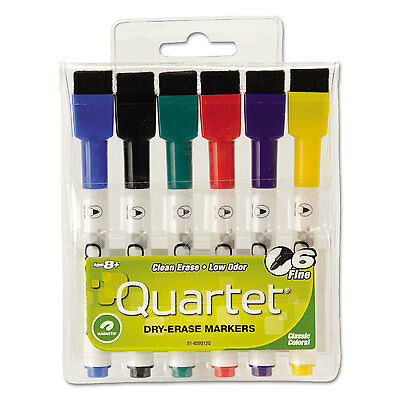 Quartet Low-Odor ReWritables Dry Erase Mini-Marker Set Fine Point Classic 6/Set