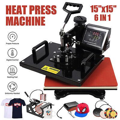 15x15 6in1 Combo T-shirt Heat Press Machine Digital Transfer Sublimation Mug