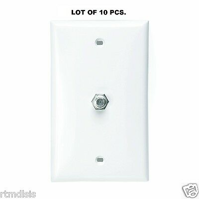 LOT OF 10 Leviton White Coaxial Cable Wall Plate Video Jack F-Type CATV 80781-W Video F-type Wall Plate