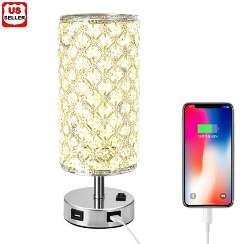 Modern USB Crystal Table Lamp Decorative Lamp with Dual Fast USB Charging Ports Home & Garden