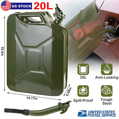 Jerry Can 5 Gallon 20l Gas Fuel Gasoline Tank Emergency Army Backup Duty Steel