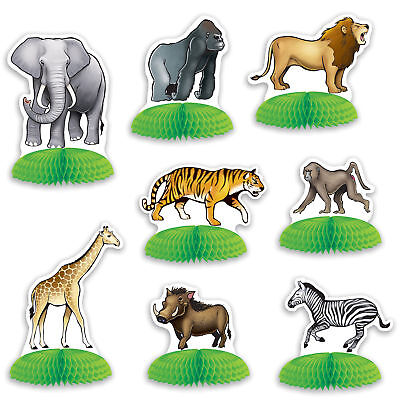 8 piece set JUNGLE SAFARI ANIMAL Zoo MINI Centerpieces Party Decorations