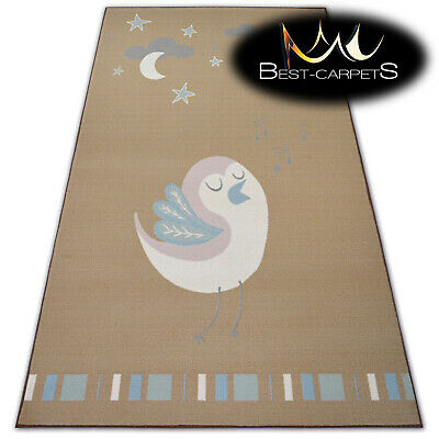Amazing MODERN RUGS 'LOKO' Bird beige ORIGINAL anti-slip Cheap CARPETS For