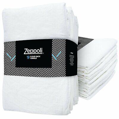 "Zeppoli 12-Pack Flour Sack Towels - 31"" x 31"" Kitchen Towels - Absorbent White D"