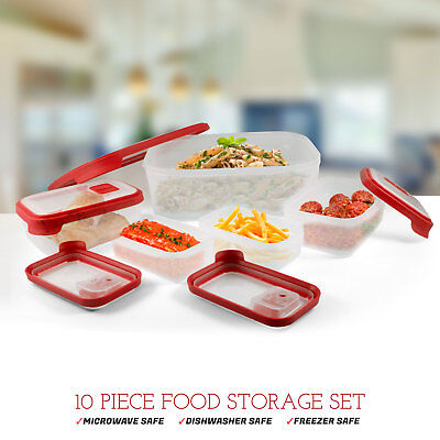 10 Piece Food Storage Set Meal Prep Containers Vents Microwave Dishwasher -