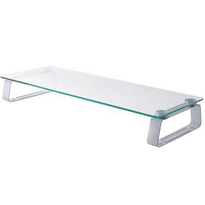 deleyCON Monitor Ständer Ablage Glas Tisch Bildschirm Monitor Erhöhung bis 20Kg
