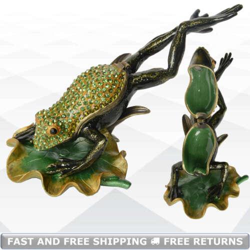 Frog Enamel Hinged Trinket Box Bejeweled Crystals Jewelry Ring Storage Ornament