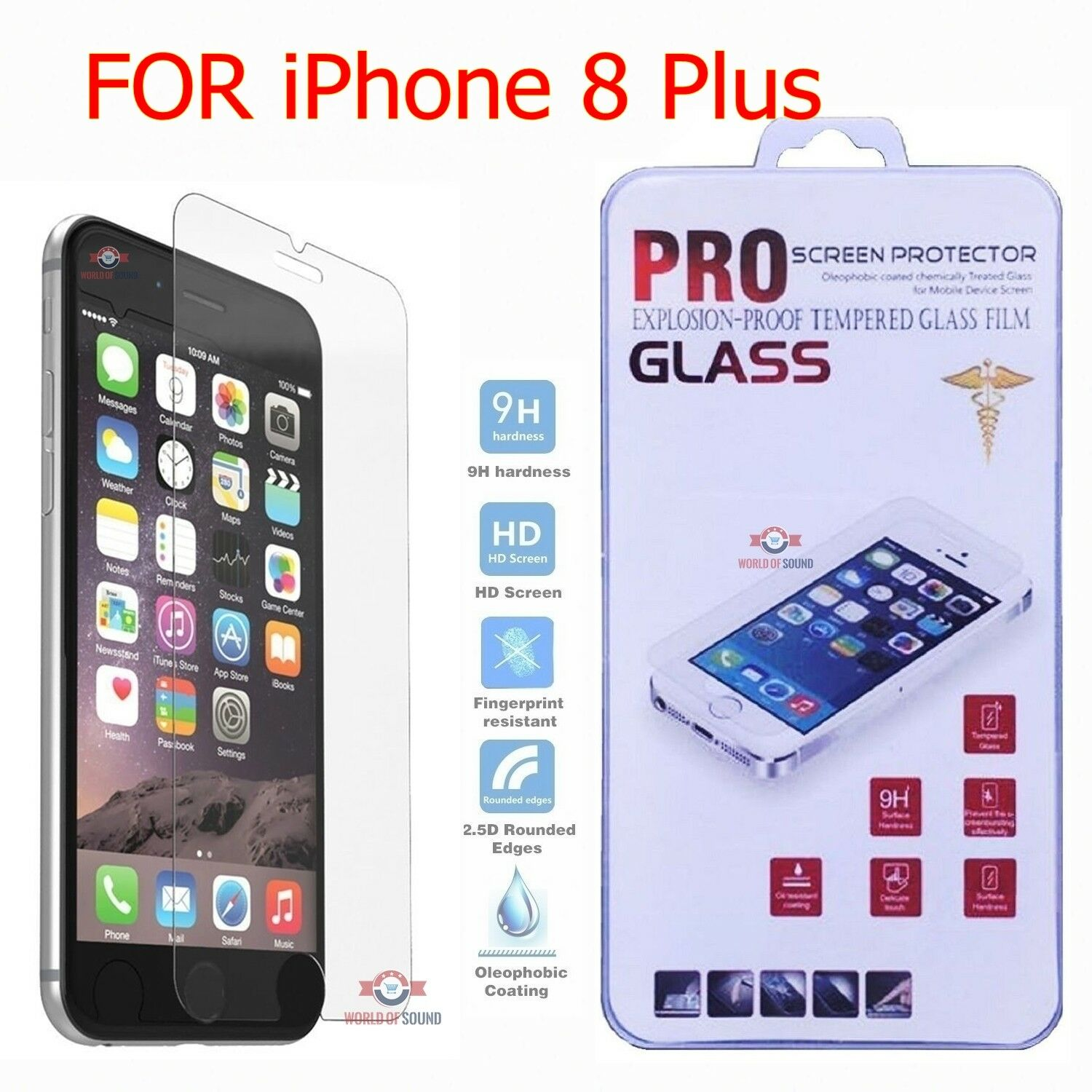 For iPhone 8 Plus Tempered GLASS Screen Protector Bubble Fre