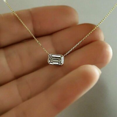 Emerald Cut Solitaire Pendant - 0.50Ct Emerald Cut Diamond Solitaire Pendant In 14K Rose Gold Finish Free Chain