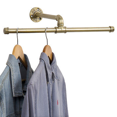 Mygift 20 Inch Industrial Brass Tone Metal Pipe T Bar Hanging Clothing Wall Rack