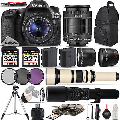 Canon EOS 80D Digital SLR with Wi-Fi NFC Camera + 18-55 STM + 650-1300mm + 500mm