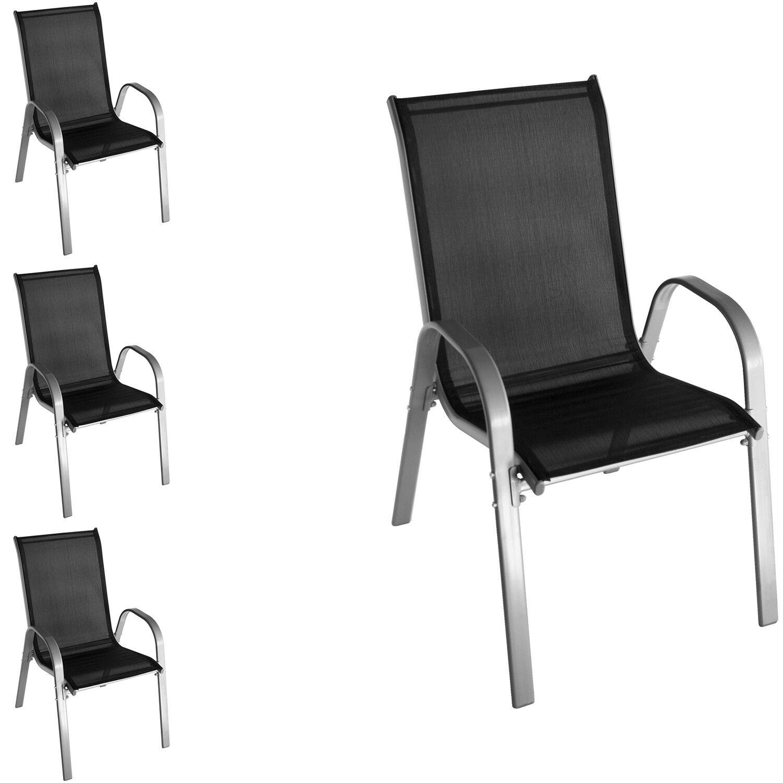 4x Wohaga® Stapelstuhl mit Textilengewebe Gartenstuhl Lehnstuhl Grau/Schwarz