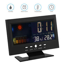 LED Digital Alarm Clock Snooze Calendar Thermometer Weather Color Display