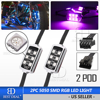 2Pcs Motorcycle Pod Light RGB LED Light Universal Under Glow Atmosphere Lamps Street Glow Led Pod