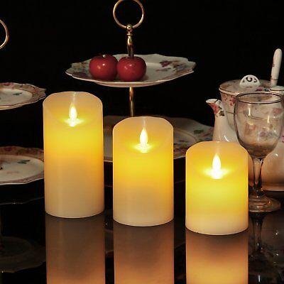 Luminara Flickering Moving Wick Flameless Pillar Candle Led Candles Remote Set 3 ()