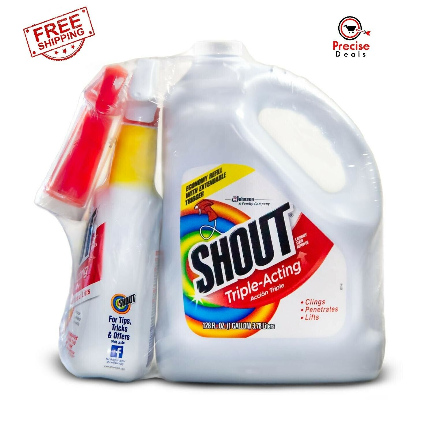 Shout Triple-Acting Liquid 1 Gallon Refill + 32 oz. Shout Trigger **FREE SHIP**
