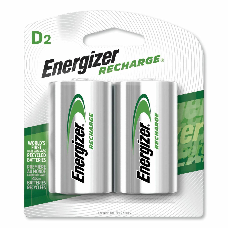 2 Energizer D Recharge NiMH Batteries