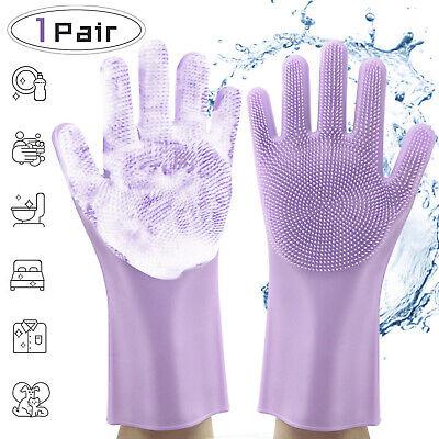 1Pair Magic Silicone Dish Washing Gloves Brush Scrubber Kitchen Pet Cleaning US